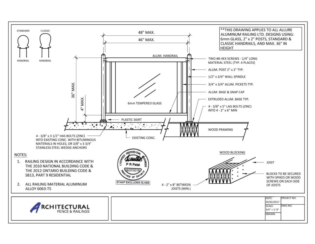 buy glass railings canada